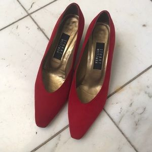 Red Stuart Weitzman with Detailed Gold Heels